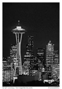 Seattle skyline at night with the Needle