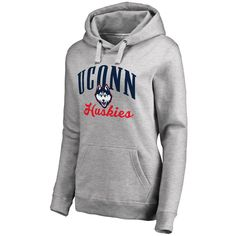 Women's Fanatics Branded Ash UConn Huskies Plus Sizes Victory Script Pullover Hoodie
