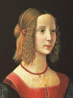 ** Temple sobre tabla. Retrato de una joven de Domenico Ghirlandaio (h.1485). -65