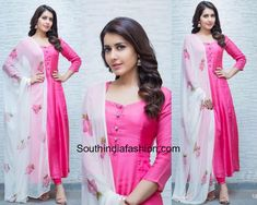Raashi Khanna wore a pink salwar suit paired up with a contrast floral printed dupatta by Picchika. silver jhumkis from Bcos It's Silver completed her look. Picchika by Urvashi Sethi, pink salwar with white dupatta, plain salwar floral dupatta Simple Kurti Designs, Salwar Designs, Kurta Designs Women, Kurti Designs Party Wear, Plain Kurti Designs, Indian Fashion Dresses, Dress Indian Style, India Fashion, Indian Outfits