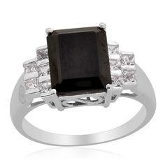 Sz 7 - Genuine Black Spinal & Topaz Sterling Silver Ring $45.95   KarmicBazaar - Jewelry on ArtFire