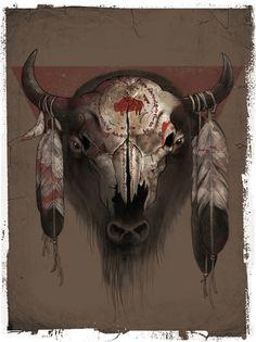 Remove all Native American symbols. I'm not Native American. Bull Skull Tattoos, Bull Skulls, Deer Skulls, Native American Decor, American Indian Art, Crane, Painted Animal Skulls, Bison Tattoo, Buffalo Tattoo