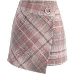 Chicwish Tender  Tartan Tweed Flap Skirt in Pink