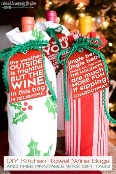 Msg 4 /// These DIY Kitchen Towel Wine Bags can be made in just minutes.and print out the free printable (punny) wine tags to go along with your wine gift! How to Sew Reusable Wine Bags from Kitchen Towels Wine Christmas Gifts, Holiday Gifts, Christmas Holidays, Christmas Crafts, Christmas Printables, Rustic Christmas, Hostess Gifts, Christmas Presents, Christmas Ideas