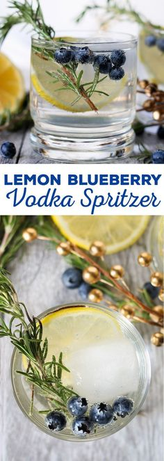 This lemon blueberry vodka spritzer is perfect for holiday parties, weekend brunches or girl's nights. If you are searching for a signature drink, your search is over thanks to this easy cocktail recipe! | honeyandbirch.com #SparklingHolidays #ad @dasaniwater