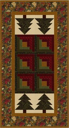 (7) Name: 'Quilting : Log Cabin in the Pines Table Runner