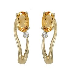 14k Yellow gold November Birthstone Oval Citrine And Diamond Wave Earrings