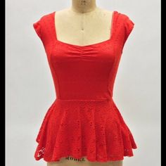 Anthropologie 9-His STL Peplum top Vibrant red/orange . Adorable crocheted overlay . 55% cotton,44%poly,1%spandex. Excellent condition Anthropologie Tops