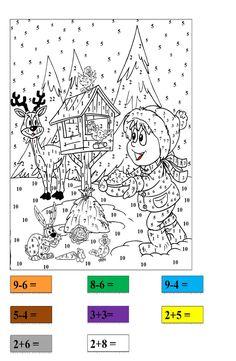 Matematyczne kolorowanki – karty pracy | dlabelfra.pl Math For Kids, Worksheets, Countertops