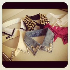Truebluemeandyou:Love this assortment of DIY collars.  EDIT: This is why I wish people would post original sources. Seriouisly. This photo is from an excellent video byChriselle of thechriselle factor here:http://youtu.be/cRVAwBsAuGM. She also has an amazing blog here.I would never have reblogged this if I had known that the original source wasChriselleand it's one of the few times I didn't use google search image.