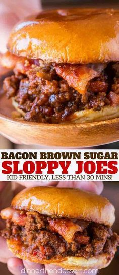 Bacon Brown Sugar Sloppy Joes are the perfect sloppy joe with garlic, salty baco. Bacon Brown Sugar Sloppy Joes are the perfect sloppy joe with garlic, salty bacon and sweet brown sugar. This will be your new favorite sloppy joe! Sandwiches, Bacon Recipes, Cooking Recipes, Cooking Courses, Bacon Hamburger Recipes, Budget Cooking, Bacon Bacon, Cooking Games, Copycat Recipes