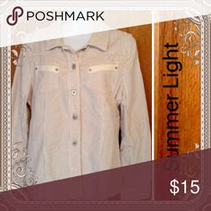 Pinstripe Jacket👻 Really cute light weight jacket in cream with mocha pinstripes. Casual chic for jeans or skirts. Great for in and out of air conditioning. Christopher & Banks Jackets & Coats Blazers