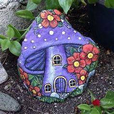 "A little fairy house painted rock ""Geranium Fairy "" ️ ..."