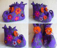 Made to order  Handmade felted wool slippers by FeltedArtToWear, £55.00