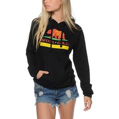 A California flag inspired Nor Cal bear graphic is in rasta themed colors is printed on a comfortable cotton blended hoodie.