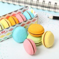 Mini Macaron Erasers
