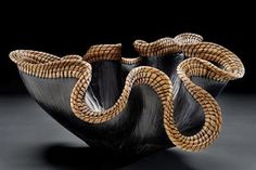 """""""Earth Wave"""" by Valerie Seaberg, Hand built clay wave form, carved, sagger fired & woven with pine needles. Pottery Bowls, Ceramic Pottery, Pottery Art, Pottery Ideas, Pottery Sculpture, Bronze Sculpture, Sculpture Art, Pottery Painting Designs, Pine Needle Baskets"""