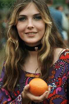 Hippie Girl with Orange - Los Angeles - 1967 (AKA Sarajane's mom!!)