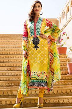 Yellow Color Cotton Salwar Suit