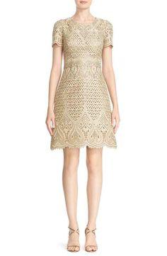 Marchesa Cap Sleeve Laser Cut Brocade Dress