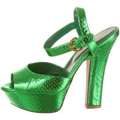 Pre-owned Sergio Rossi Sandals ($220) ❤ liked on Polyvore featuring shoes, sandals, green, green leather shoes, green shoes, platform sandals, peep toe shoes and metallic platform sandals