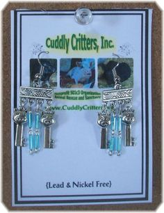 Tibetan Silver  Pig Key Dangle  Earrings - Blue - Made in the USA #Handmade #DropDangle