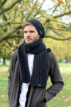 Men's Scarf Women s Chunky Knit  Scarf Chunky Textured by zukas
