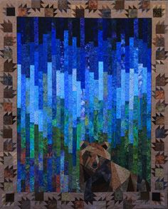 """Ricky's Tahoe"" by Denise Dumas Konar. Celebrating the anniversary of the California State Parks. Quilting Projects, Quilting Designs, Wildlife Quilts, Bear Paw Quilt, Landscape Art Quilts, Bargello Quilts, Quilt Modernen, Panel Quilts, Lap Quilts"
