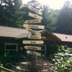 Love this sign post at Hickory Cove Bible Camp.