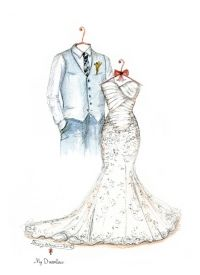Wedding day gift from groom to bride. First Anniversary Gifts For Wife. Dreamlines Wedding Dress Sketch and Suit  http://www.mydreamlines.com #groomgifttobride #bridegift