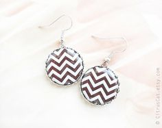 Chocolate brown chevron earrings by CitrusCat on Etsy, $21.50