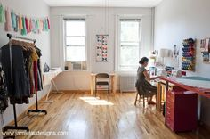 Inside the Jamie Lau Designs studio in Greenpoint, Brooklyn. Jamie will be teaching a workshop at Britex Fabrics on Only 3 spaces remain!
