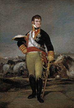 """Francisco de Goya: """"Fernando VII, ante un campamento"""". Oil on canvas, 207 x 140 cm, c. 1815. Museo Nacional del Prado, Madrid, Spain"""