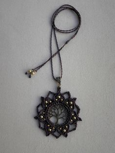 ☮ ॐ Ⓥ  Delicate bohemian necklace. Tree Of Life - MANDALA. ✦✦✦ Spiritual Jewelry designed and carefully handmade by QuetzArt with ancient macramé technique. ✦✦✦  For all free spirited women who want to enjoy their unique style!   I used brazilian waxed thread famous for its durability (it is waterproof and lasts for years without changing the shape, loosing or the color fading away) and high quality brass beads. No glue has been used. The necklace has a sliding knot to regulate the lenght of…
