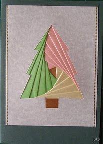 log-cabin christmas tree card