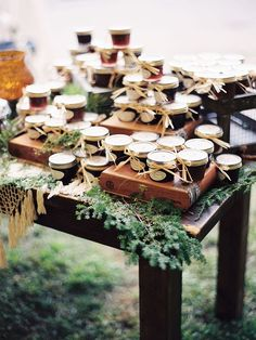 Let your rustic wedding theme inform your favors for a totally tied together thank-you gift.
