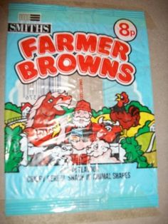 Nobody else I know can remember Farmer Browns Crisps. They were available around 1983 and the advert had a song that went 'Farmer Brown, you got. Old Sweets, Vintage Sweets, Retro Sweets, Vintage Food, 90s Childhood, My Childhood Memories, Retro Recipes, Vintage Recipes, Monster Munch