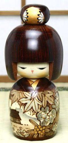 Japanese Kimono Kokeshi Doll.