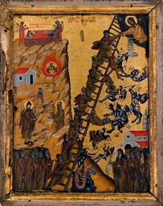 The Demonology of St. John of the Ladder of - The Demonology of the Ascetic Fathers Jacob Jacob, Biblical Hebrew, Biblical Art, Masonic Symbols, Jacob's Ladder, Russian Icons, Demonology, Byzantine Art, Orthodox Icons