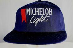 Vintage Michelob Light Beer Blue Baseball Cap Snapback Made in USA   Stylemaster  BaseballCap Hat bb000343342d