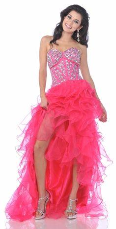 Jeweled Corsette Strapless Long Hot Pink Dress Organza Slit $297.99