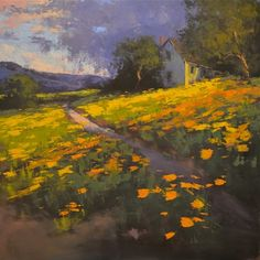 """Romona Youngquist, """"California Golden Poppies"""", x Oil on Canvas Landscape Artwork, City Landscape, Abstract Landscape, Beautiful Paintings, Beautiful Landscapes, Building Painting, Pastel Art, Pastel Paintings, Art Sketchbook"""