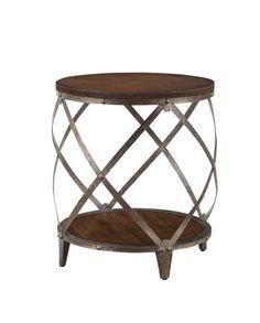 Modern Accent Table Metal Frame Decorative Rivets Drum Shape Functional Base for sale online