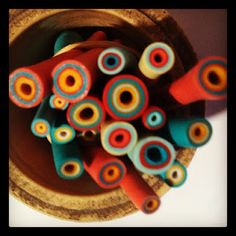 Polymer clay tubes - Leslie Aja