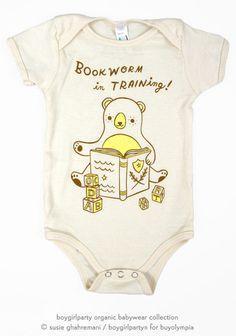 Bookworm Onesie - Baby Bodysuit (Organic) by Susie Ghahremani / boygirlparty.com