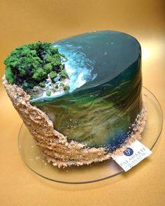 Ocean Cakes, Beach Cakes, Beautiful Cakes, Amazing Cakes, 3d Jelly Cake, Island Cake, Jello Cake, Gateaux Cake, Colorful Cakes