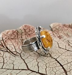 UNIQUE AMBER RING, Statement Ring, Handcrafted Ring, Gemstone Ring, Artisan Ring, 925 Sterling Silve by AlenaZenaJewelry on Etsy