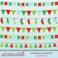 Christmas Bunting V2 Brighter Cute Digital by JWIllustrations, $5.00
