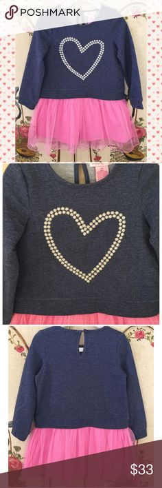 """NWT. Cute Heart Dress SZ 3T TuTu Heart Dress NWT. Perfect dress for your Little Princess💕.  Blue French Terry Heart Top Pink TuTu dress. Size 3T.   French Terry Bodice, round neck, long sleeves, front Heart, Tulle Skirt with lining, pullover style.  Measurements: Laying flat- Chest: 11 1/2"""".  Length: 21 1/2"""". Design History Dresses Casual"""