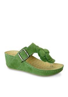 David Tate Women's Spring Wedge Sandal - Green - 6.5Ww